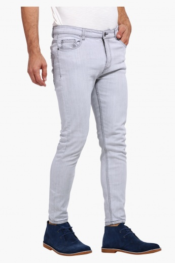 Full Length Pants with Button Closure in Slim Fit