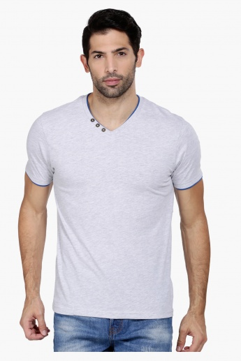 V-Neck T-Shirt with Short Sleeves and Mock Insert