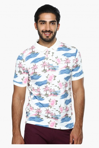 Printed Polo Neck T-Shirt with Short Sleeves