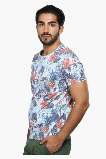 Printed Crew Neck T-Shirt with Short Sleeves