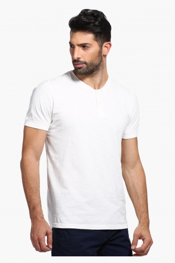 Henley Neckline T-Shirt with Short Sleeves