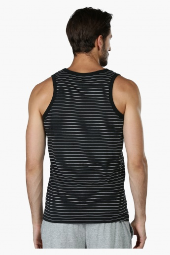 Striped Sleeveless Vest with Round Neck
