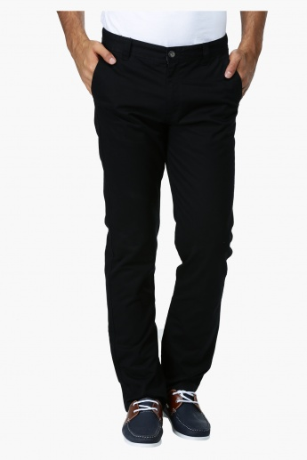 Straight Fit Mid Rise Trousers