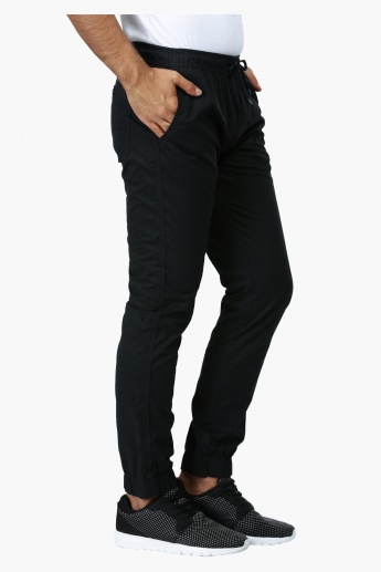 Straight Fit Mid Rise Jog Pants with Drawstring