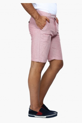 Straight Fit Mid Rise Oxford Shorts