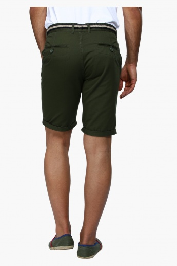 Shorts with Textured Belt
