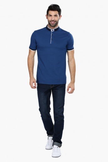 Short Sleeves Slim Fit T-Shirt with Mandarin Collar