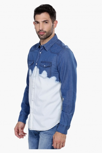 Ombre Denim Shirt with Long Sleeves