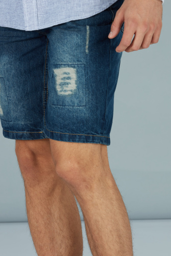 Denim Distressed Shorts with Pocket Detail