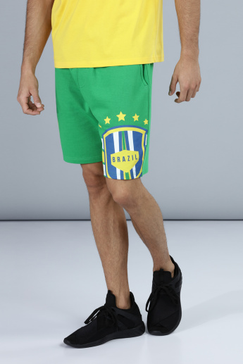 Football Special Brazil Printed Shorts with Pocket Detail