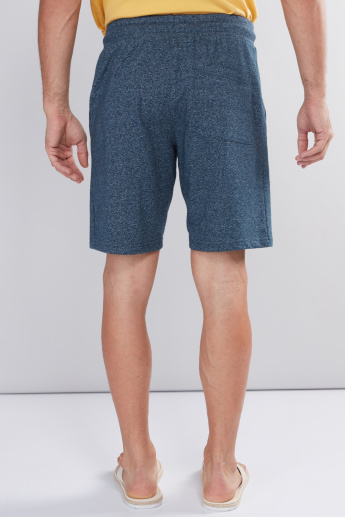 Textured Shorts with Pocket Detail and Drawstrings