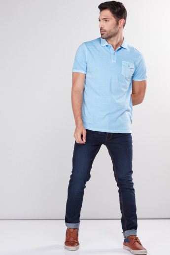 Polo Neck T-Shirt with Pocket Detail and Short Sleeves
