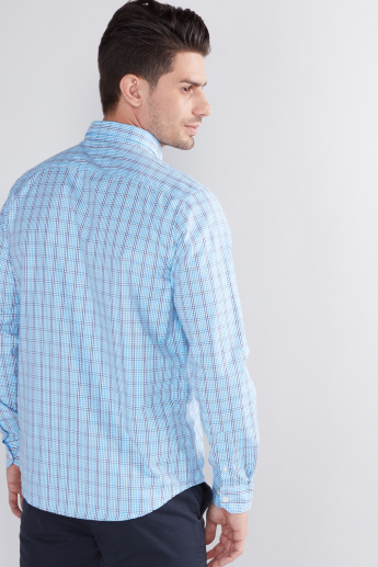 Chequered Shirt with Button Through Placket and Long Sleeves