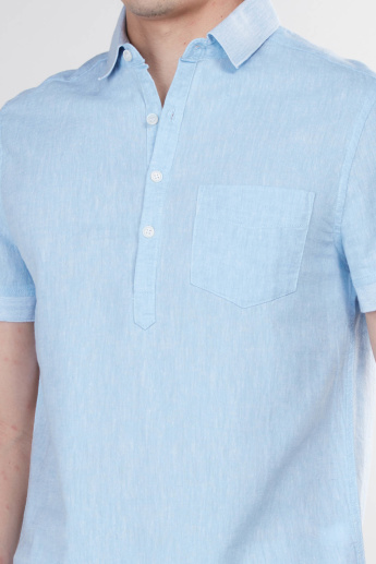 Textured Shirt with Short Sleeves and Chest Pocket