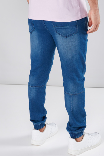 Pocket Detail Jeans in Slim Fit with Elasticised Cuffs