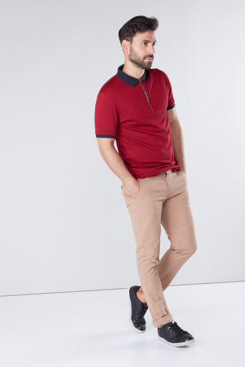 Polo Neck T-shirt with Short Sleeves and Zip Detail