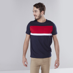 Round Neck T-shirt with Panel Detail and Short Sleeves