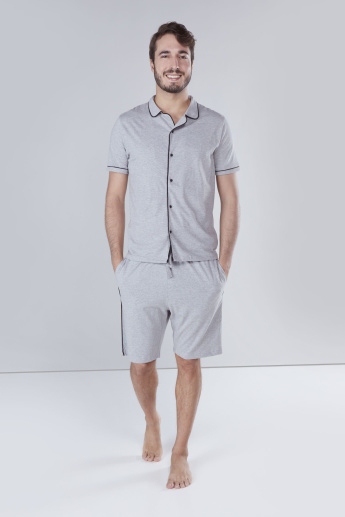 Set of Piping Detail Shirt with Shorts