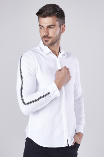 Slim Fit Solid Shirt with Striped Long Sleeves