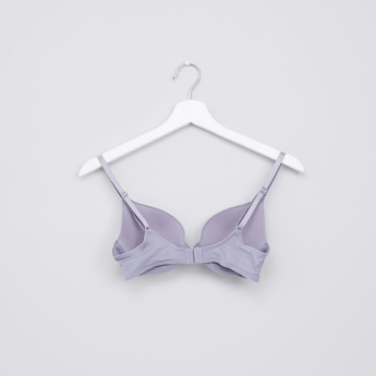 Padded Stitch Detail Plunge Bra with Hook and Eye Closure - Set of 2