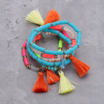 Assorted Beaded Bracelets with Tassels