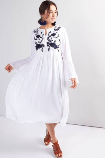Embroidered Midi Dress with Flared Sleeves and Tie Up