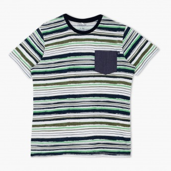 Cherokee Striped Crew Neck T-Shirt