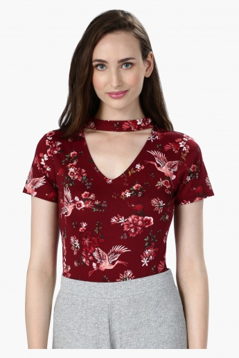 Floral Print Top with Short Sleeves and V-Neck