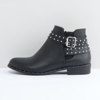 Studded Ankle Boots with Pin Buckle Detail