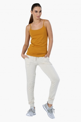 Melange Cuff Pants with Elasticised Waistband and Drawstring