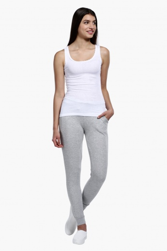Full Length Melange Jog Pants with Drawstring