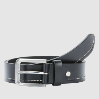 Metallic Buckle Belt with Contrast Stitch Detail