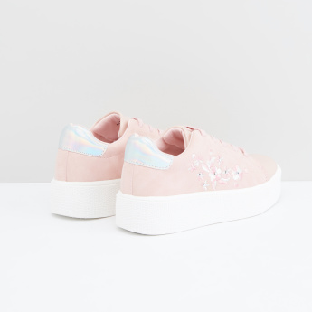 Embroidered Lace-Up Shoes