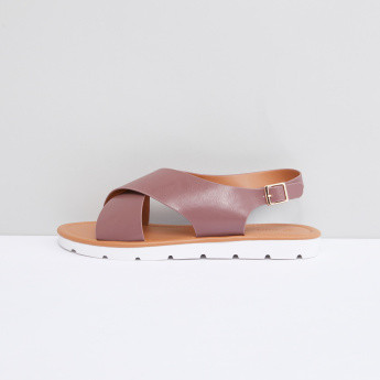 Crossed Strap Sandals with Pin Buckle Closure