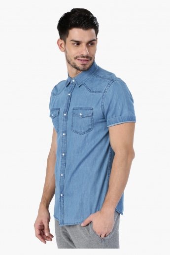 Denim Shirt with Short Sleeves