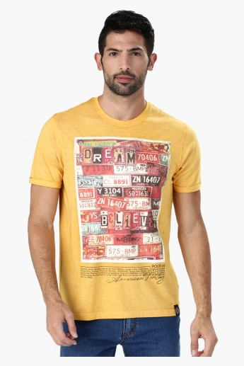 Graphic Printed T-Shirt with Round Neck and Short Sleeves