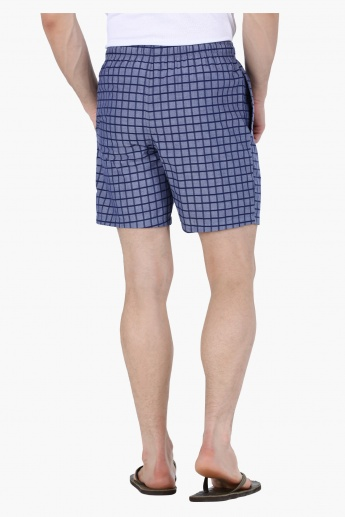Chequered Shorts with Elasticised Waistband and Drawstring