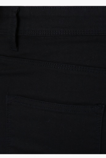 Full Length Pants with Button Closure in Straight Fit