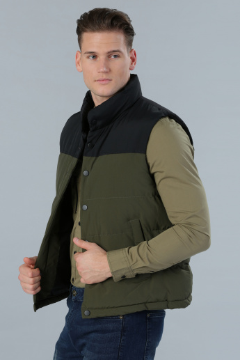 Sleeveless Quilted Jacket with Buttoned Closure
