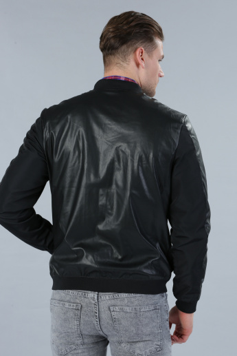 Long Sleeves Biker Jacket in Slim Fit