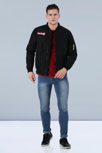 Long Sleeves Bomber Jacket with Embroidered Appliques in Slim Fit