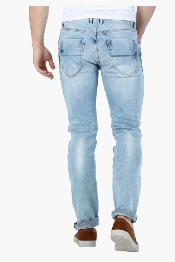 Acid Wash Mid Rise Jeans in Slim Fit