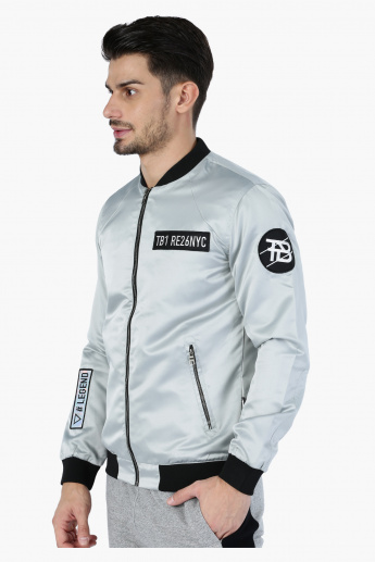 Astronaut Bomber Jacket with Embroidered Logos