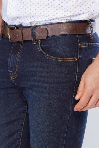 Full Length Jeans with Pocket Detail and Belt