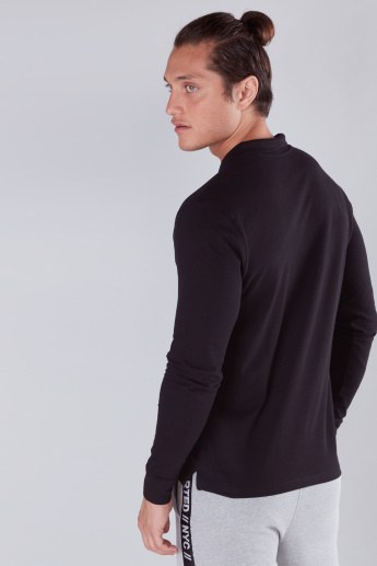 Polo Neck T-Shirt with Long Sleeves