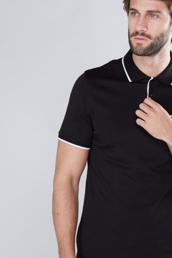 Polo Neck T-Shirt with Short Sleeves and Chest Pocket