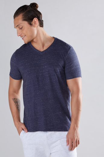 Melange Printed T-Shirt with V-Neck and Short Sleeves