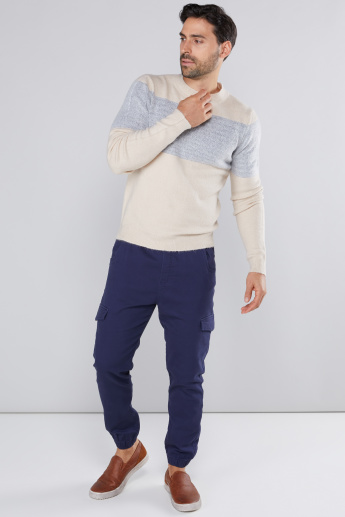 Textured Sweater with Round Neck and Short Sleeves