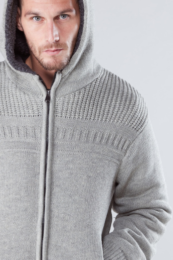 Textured Sweater with Hood and Zip Detail