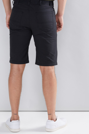Pocket Detail Shorts with Button Closure